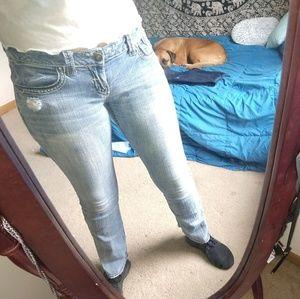 Hydraulic light wash jeans